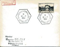 VERSAILLES 1954 CHATEAU DE VERSAILLES PREMIER JOUR DU TIMBRE FDC - Storia Postale