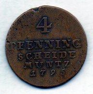 GERMAN STATES - BRUNSWICK-LUNEBURG-CALENBERG-HANNOVER, 4 Pfennig, Copper, Year 1795, KM #403 - [ 1] …-1871 : Duitse Staten