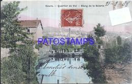 127392 FRANCE COURS DISTRICT OF VIVI ETANG DE LA SAIERIE DAMAGED CIRCULATED TO ARGENTINA POSTAL POSTCARD - France