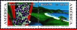 Ref. BR-2287A BRAZIL 1990 FLOWERS, PLANTS, WILDLIFE RESERVE, UPAEP,, MI# 2381-82, MNH 2V Sc# 2286-2287 - Brazilië