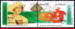 Ref. BR-2361A BRAZIL 1992 HISTORY, DISCOVERY AMERICA, SKIPS,, VASCO DA GAMA,UPAEP,MI# 2466-67,SET MNH 2V Sc# 2360-2361 - Brazilië