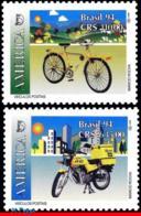 Ref. BR-2464-65 BRAZIL 1994 POST, CYCLES, BIKE, MOTORCYCLE,, AMERICA ISSUE, UPAEP. MI# 2573-74, MNH 2V Sc# 2464-2465 - Brazilië