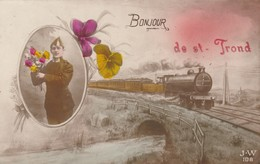 Bonjour De Saint-Trond , Sint-Truiden , ( Militaire Et Train ) Verso Signé Militaire 2e Groupe, 3e Escadron , 2e Lancier - Sint-Truiden