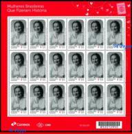 Ref. BR-V2019-32-F BRAZIL 2019 FAMOUS PEOPLE, WOMEN WHO MADE HISTORY,, ARACY ROSA, HEROINE IN GERMANY SHEET MNH 18V - Blocks & Kleinbögen