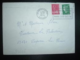 LETTRE TP M. DE BEQUET 0,50 + M. DE CHEFFER 0,30 OBL.MEC.18-9 1974 33 BORDEAUX RP + 3EME JOUR TARIF URGENT 0,80 - 1971-76 Marianne (Béquet)