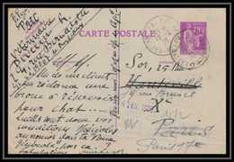 4383 40c Paix Recommande Krag Pau 1936 Carte Postale France Entier Postal Stationery - Postwaardestukken