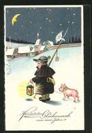 AK Glückwunsch Zum Neuen Jahre, Kleiner Nachtwächter, Mondgesicht - Cartoline
