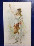 """Cpa--""""Jolie Femme Cueillant Des Fleurs-papillon""""--(my Ref 213)-1902 - Künstlerkarten"""
