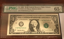 $1 1995 Web Notes Federal Reserve - Atlanta - UNC PMG 65 ! - United States Of America