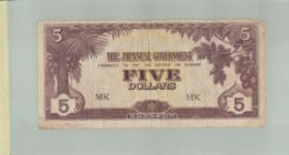 Billet De Banque MALAYA THE JAPANESE GOVERNMENT  FIVE DOLLARS  (1942) DEC 2019 Gerar - Malaysie