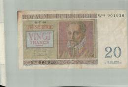 Billet De Banque 20 Francs ROYAUME DE BELGIQUE 1950  DEC 2019 Gerar - [ 2] 1831-... : Reino De Bélgica