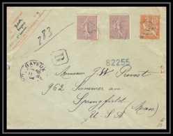 4724 Mouchon 15c Complement Affranchissement Semeuse Affranchissement Rare Bayeux 30 Enveloppe France Entier Stationery - Entiers Postaux