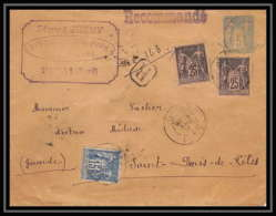 4782 Sage 5c Complement Affranchissement Composé Douai 1894 Saint-Denis-de-Pile Gironde Enveloppe Entier Stationery - Entiers Postaux