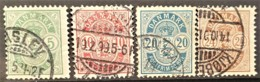 DENMARK 1895/1901 - Canceled - Sc# 43, 45, 48, 49 - Dienstpost