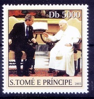 Pope John Paul II, President George W. Bush, Religion, Sao Tome 2003 MNH - Papas