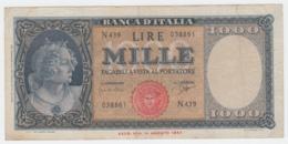 Italy 1000 Lire 1947 (1961) VG+ Pick 88d 88 D - [ 2] 1946-… : République