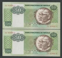 ANGOLA 2 X 50 KWANZAS 1984 RUNNING NUMBER UNC - Angola