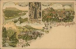 AK Gruss Aus Der Sächs. Schweiz Lilienstein, Wolfsschlucht, Hohenstein, Hookstein, Stadt U. Festung Königstein (3-606) - Hohnstein (Saechs. Schweiz)
