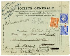PERFORE SEINE ENV 1940 PARIS 42 OMEC PERFORE SG AGENCE PARIS 9° MERCURE + MAZELIN (3 TIMBRES SONT PERFORES) - Postmark Collection (Covers)
