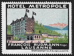 4199s: Reklamemarke Hotel Metropole, Lausanne Um 1920, ** - Erinnophilie