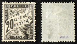 N° TAXE 17 DUVAL 20c Oblit TB Cote 150€ Signé - 1859-1955 Usados