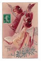 """2 Belles  Anges  Chantent  """" Joyeux  Noel  """"  - Carte Gaufrée - Angels"""