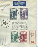 FRANCE-MAROC - Lettre Recommandée Au Depart De RABAT Pour PARIS - Marokko (1891-1956)