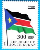 SOUTH SUDAN 2017 Surcharge Overprint In Black VARIETY 300 SSP On 1 SSP Flag Stamp Südsudan Soudan Du Sud - South Sudan
