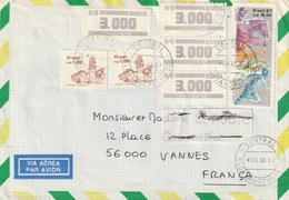 Brasil. Carta Para A França. Postmarks. 1987. 8 Selos. Esportes E Faróis. De Avião. - Brazilië