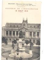 """BELFORT . MONUMENT DES TROIS SIEGES  """"  SOUVENIR DE L'INAUGURATION 15 AOUT 1913  """"  CARTE NON ECRITE - Belfort – Siège De Belfort"""