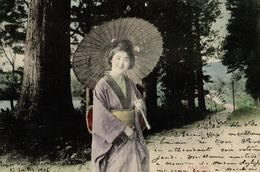 Old Postcard JAPAN - ETHNIC - GEISHA, Hakone, 1905 LIÈGE EXPOSITION STAMP & OFFICIAL POSTMARK - Non Classés