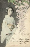 Old Postcard JAPAN - ETHNIC - GEISHA, Evening Visit, 1905 LIÈGE EXPOSITION STAMP & OFFICIAL POSTMARK - Non Classés