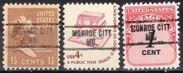 USA Precancel Vorausentwertung Preo, Locals Missouri, Monroe City 734, 3 Diff. - Verenigde Staten