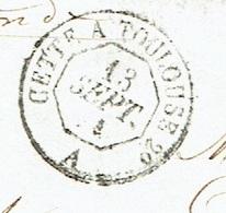 AMBULANT Jour CETTE A TOULOUSE 2° LST Du 18/09/1858 Losange C T2° Sur N° 14 Pièce Rare TTB - Marcophilie (Lettres)