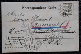 Österreich 1926, Postkarte Mi 458, Wien Gelaufen KUNZDORF(KUNICINA) - 1918-1945 1st Republic