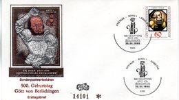 """BRD Schmuck-FDC """"500. Geburtstag Von Götz Von Berlichingen"""" Mi.1036  ESSt BONN 1, 10.1.1980 - FDC: Sobres"""