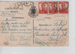 REF174/ TP 111 Bde De 3 S/CP Palace Hôtel En Exprès C.T.BXL 8/7/1912 > Uccle 'Fabry Destructeur De Cafards' - 1912 Pellens