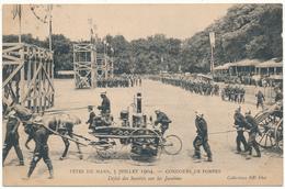 LE MANS - Concours De Pompes 1904, Défilé Des Sociétés - Sapeurs Pompiers - Le Mans