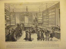 Confiserie Des Anciens Rois De France , Maison Seugnot , Intérieur Des Magasins , Gravure De A Miniot 1879 - Documenti Storici