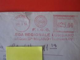 RS.1 ITALIA METER STAMP EMA AFFRANCATURA MECCANICA - 1954 MILANO FIGC LEGA REGIONALE LOMBARDA CALCIO FOOTBALL F.I.G.C. - Famous Clubs