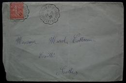 Convoyeur La Chartre Sur Le Loir Au Mans 2° 1928 2 Cachets Sur Lettre Pour Evaillé (Sarthe) - Storia Postale