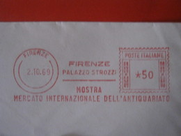 RS.1 ITALIA METER STAMP EMA AFFRANCATURA MECCANICA - 1969 FIRENZE MOSTRA MERCATO INTERNAZIONALE ANTIQUARIATO ANTIQUES - Fabbriche E Imprese