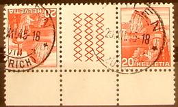 Schweiz Suisse 1942: Kehrdruck & Zwischensteg Se-tenant Avec Pont Zu S56y Mi KZ13yE Mit O MEILEN 20.XII.45 (Zu CHF 2.50) - Kehrdrucke