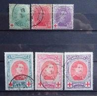 BELGIE   1914   Nr. 129 - 131   / 132 - 134  (2)  Gestempeld   CW  56,00 - 1914-1915 Croix-Rouge