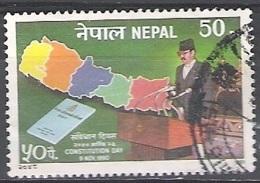 Nepal 1991 Michel 518 O Cote (2006) 0.20 Euro Journée De La Constitution Cachet Rond - Népal