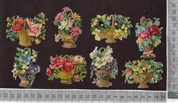 CHROMOS DECOUPIS GRAUFRE / LOT DE 8 JOLIS PETITS PANIERS FLEURIS - Fleurs