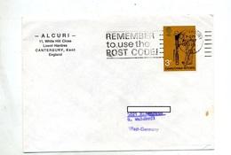Lettre Flamme Canterburry Code Postal Sur Cricket - Affrancature Meccaniche Rosse (EMA)