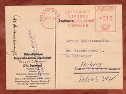 Karte, Absenderfreistempel, Dortmunder Bergbau, 10 Pfg, Dortmund 1954 (88811) - BRD