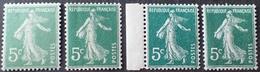 R1189/347 - 1907/21 - TYPE SEMEUSE CAMEE - N°137 Vert-jaune (II) + Vert (I) + Vert Fcé (I) + Vert Très Fcé (I) NEUFS** - 1906-38 Semeuse Camée