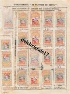 """75 PARIS (SEINE) ETS """"AU PLANTEUR DE CAIFFA"""" FEUILLE TIMBRES - Old Paper"""